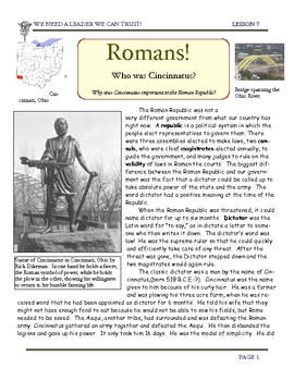 Rome: Cincinnatus ($0.99) and his importance to the Romans