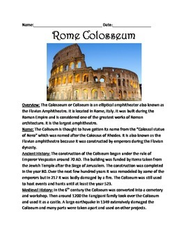 Rome Colosseum - Lesson informational article questions vocab facts