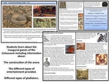 Rome - Colosseum Opening Games - Homework