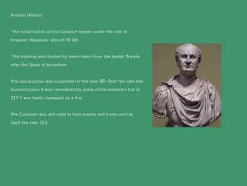 Rome Colosseum Power Power - History Review Facts Pictures - 12 Slides