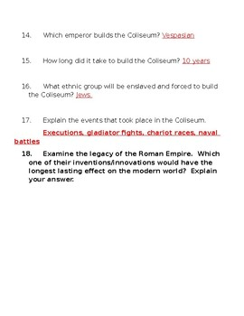 Rome Engineering an Empire film questions