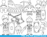 Rome Gladiator Super Hero Clip Art school outline stamp coloring line Print -131