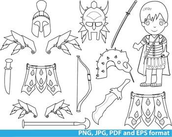 Rome Gladiator Super Hero Clip Art school outline stamp coloring line Print -131