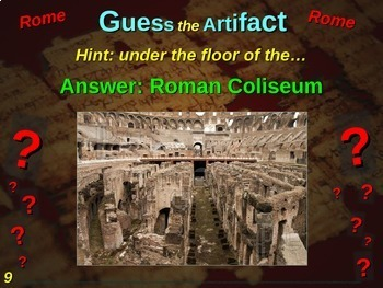 "Rome ""Guess the artifact"" game: engaging PPT with pictures, clues & answers"