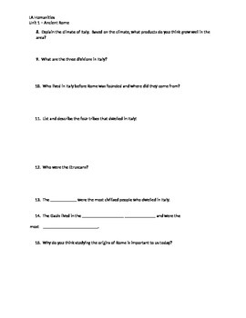 Rome:  Land and People Worksheet