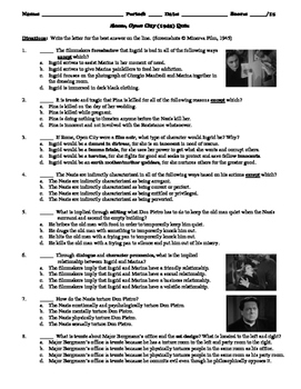 Rome, Open City Film (1945) 15-Question Multiple Choice Quiz