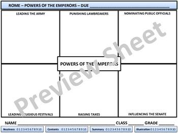 Rome - Powers of the Emperors - Homework