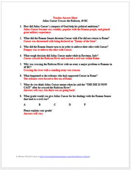 Rome Primary Source Worksheet: Julius Caesar Crosses the Rubicon 49 BC