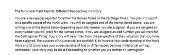 Rome: Punic War Field Reports-Looking for Bias in Historical Documents