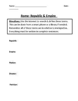 Rome- Republic & Empire Homework Definitions