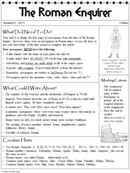 Ancient Rome / Roman Empire Newspaper