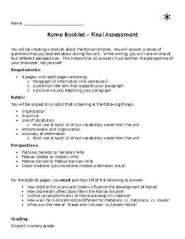 Rome Unit End of Unit Assessment