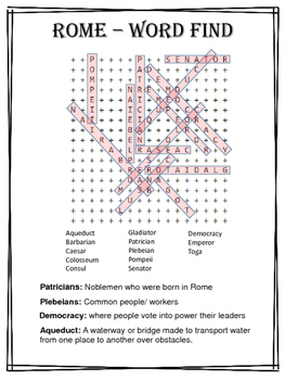 Rome Word-Find: Roman Word Search