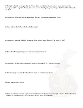 Romeo And Juliet Questions Act I-II