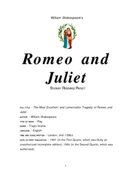 Romeo and Juliet Student Packet