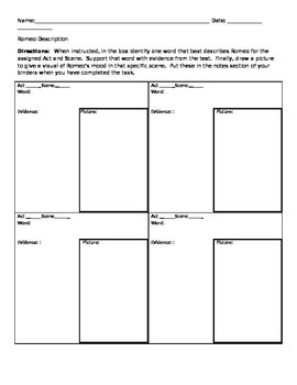Romeo Character Trait Note Sheet