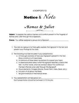 Romeo & Juliet 6 Signposts Project & Presentation