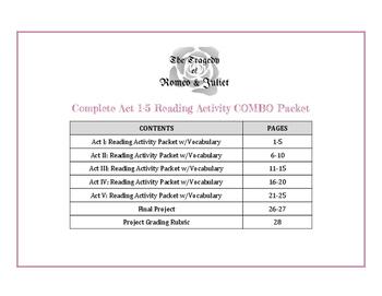 Romeo & Juliet: Act 1-5 Activity & Vocabulary COMBO Packet