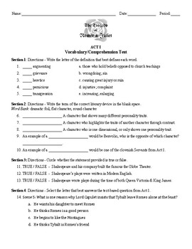 Romeo Juliet Act 1 Vocabulary Reading Comprehension Test With Key