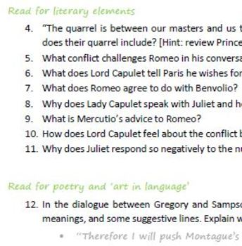 """""""Romeo & Juliet"""" Act 1 reading comprehension questions"""