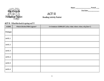 Romeo & Juliet: Act 2 Activity Packet