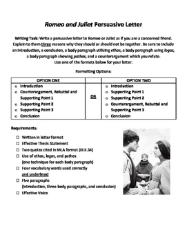romeo and juliet act persuasive letter graphic organizer and  romeo and juliet act 2 persuasive letter graphic organizer and rubric