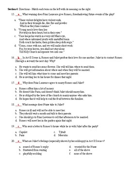 Romeo & Juliet: Act 2 Vocabulary & Reading Comprehension Test (with Key)