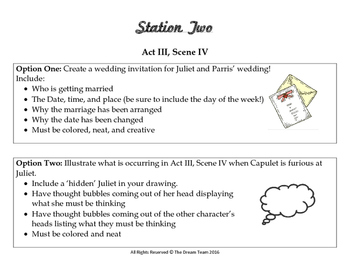 Romeo and Juliet Act 3 Stations