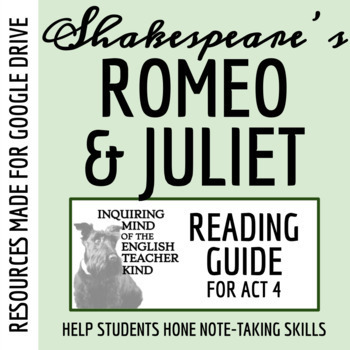 Romeo & Juliet Reading Guide - Act 4