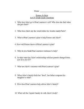 Romeo & Juliet - Act 4 study guide