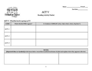 Romeo & Juliet: Act 5 Activity Packet