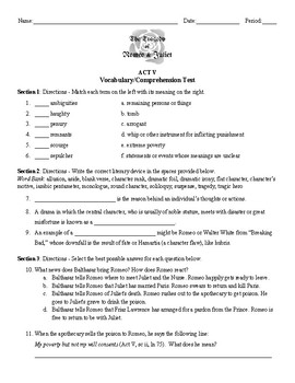 Romeo & Juliet: Act 5 Vocabulary & Reading Comprehension Test (with Key)