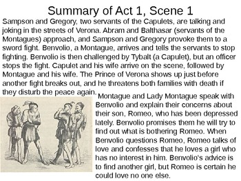 Romeo & Juliet: Act I Vocabulary and Scene Summaries