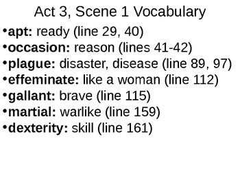 Romeo & Juliet: Act III Vocabulary & Scene Summaries
