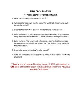 Romeo & Juliet Act IV, Scene I Questions