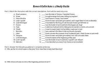 Romeo & Juliet: Acts 1-3 Quiz STUDY GUIDE
