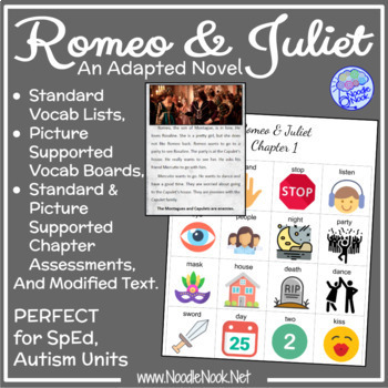 Romeo & Juliet- An Adapted Novel for SpEd and Autism Units.