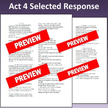 Romeo & Juliet: Assessment for Act Four (Test aligns with Common Core)