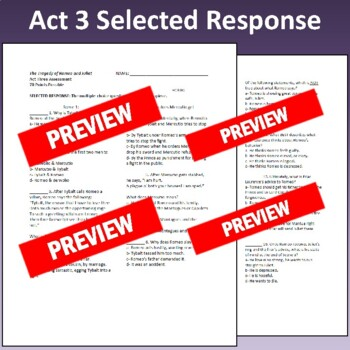 Romeo & Juliet: Assessment for Act Three (Test aligns with Common Core)