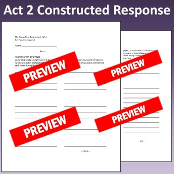 Romeo & Juliet: Assessment for Act Two (Test aligns with Common Core)