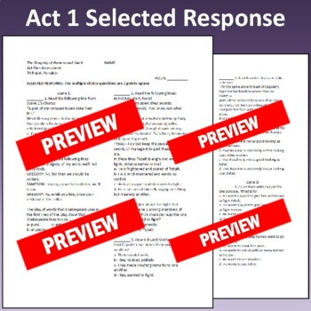 Romeo & Juliet: Assessment for Act One (Test aligns with Common Core)