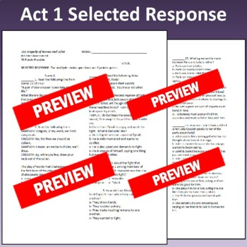 Romeo & Juliet: Assessments for All Five Acts (Tests align with Common Core)