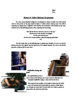 Romeo & Juliet- Balcony Analysis Assignment
