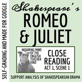 Romeo & Juliet Close Reading Worksheet (Act 1, Scene 1)