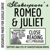 Romeo & Juliet Close Reading Worksheet (Act 1 Prologue)