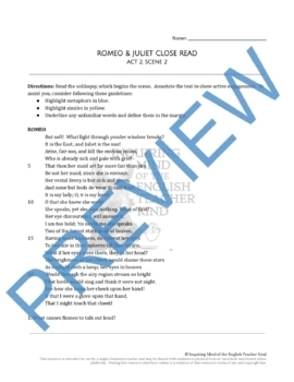 Romeo & Juliet Close Reading and Annotating Worksheet (Act 2, Scene 2)