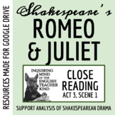 Romeo & Juliet Close Reading and Annotating Worksheet (Act 3, Scene 1)
