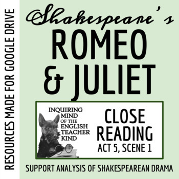 Romeo & Juliet Close Reading Worksheet (Act 5, Scene 1)