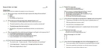 Romeo & Juliet--Common Core Aligned Act I packet