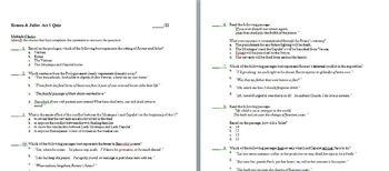 Romeo & Juliet Common Core Aligned Final Test: 53 questions